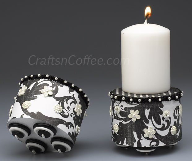 You can make these pretty candle pedestals with scrapbook paper, buttons, and discs of Styrofoam brand foam. Love those button feet! What a great gift idea, too.