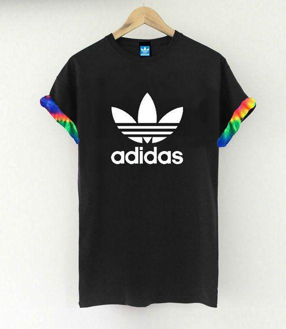 Unisex Authentic Adidas Originals Custom Cut & Sew Neon Tie dye Cuff Tee