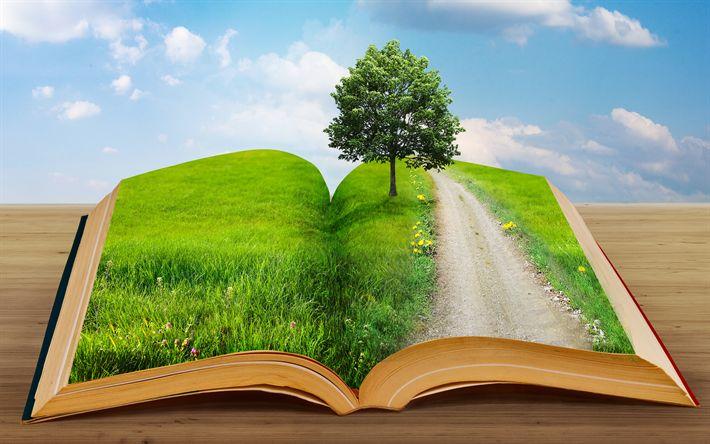 Download imagens ecologia, 4k, livro verde, meio ambiente, ecologia conceitos, árvore verde, Salvar A Terra