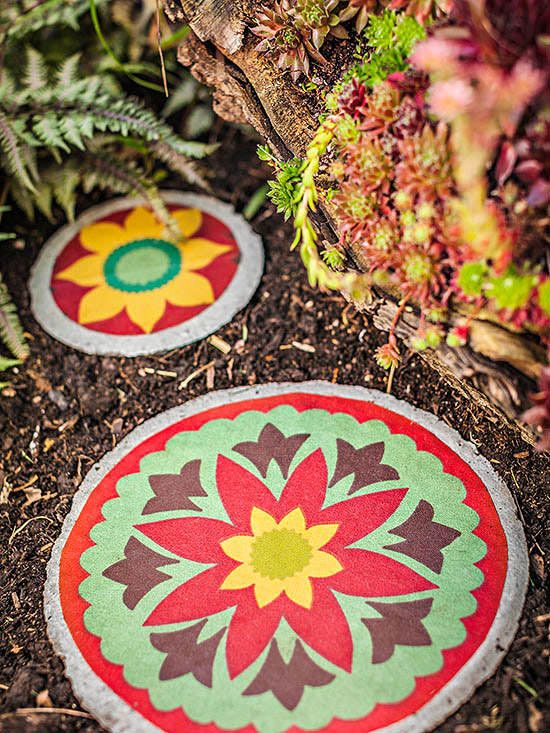 You can paint simple stepping stones in bright colors and patterns. This is a great way to wake up a sleepy or shady bed, too!