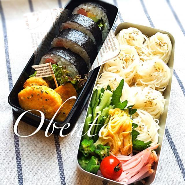 今日も暑くなりそうなので、素麺&巻き寿司で^ ^ Fight〜!! - 61件のもぐもぐ - 本日の部活弁♪ by epiphone