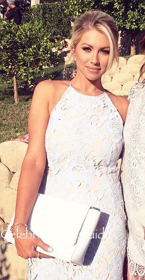 Bravo To Stassi Schroeder's Ice Blue Lace Halter Dress