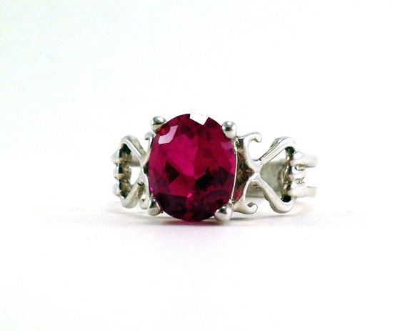 Beautiful Vintage Ruby Sterling Silver Ring Size by baileysbizarre, $39.95
