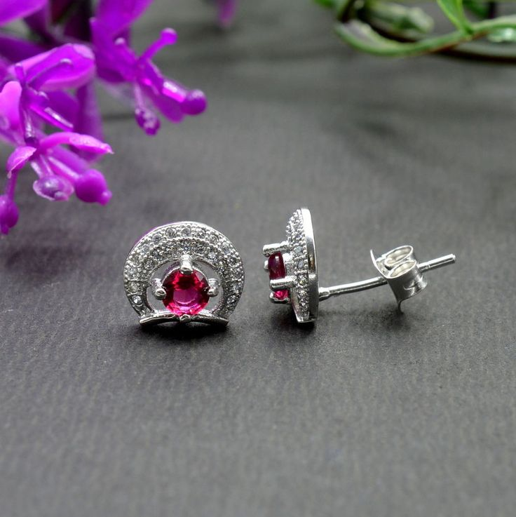 925 Solid Sterling Silver Ruby Gemstone Stud Earrings Jewelry E280 #Handmade #Stud #Party