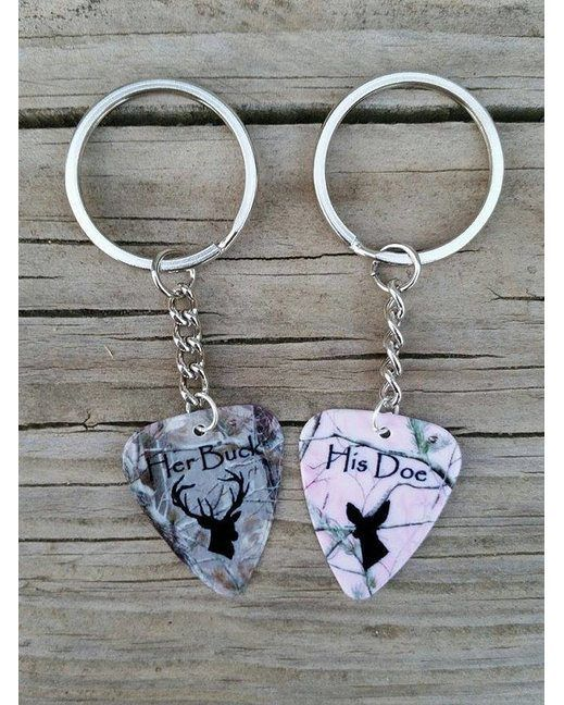 Her buck and his doe camo matching guitar pick keychains for Perfect gift to get your boyfriend