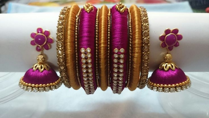 Silk thread bangles and earrings with pachi stud