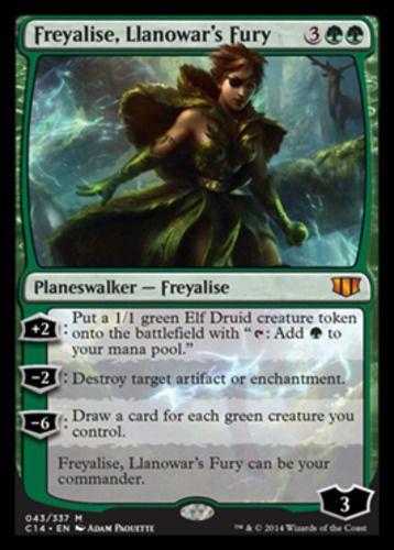 Freyalise, Llanowar's Fury mtg Magic the Gathering Commander 2014 mythic rare green planeswalker card