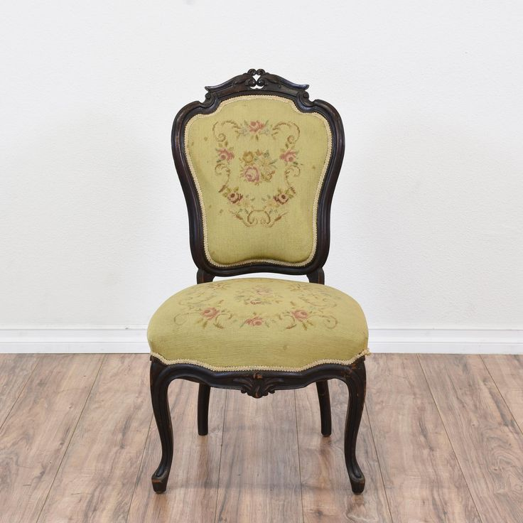 Carved victorian floral needlepoint chair victorian