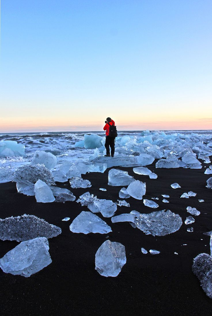 This is black beach opposite Jokulsarlon Glacier Lagoon, it really shouldn't be missed! Huge clusters of ice floes are EVERYWHERE! #Iceland #travel