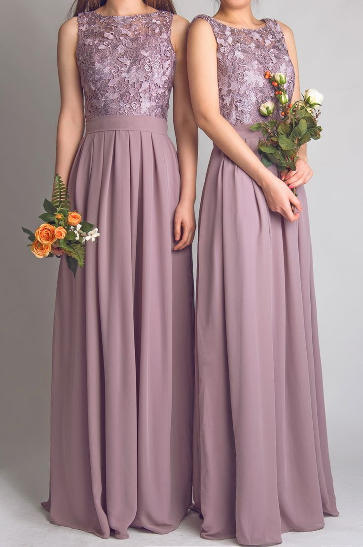 elegant lace lavender bridesmaid dresses with flowing chiffon skirt