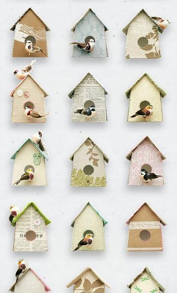 Studio Ditte -Behang Vogelhuisjes wit