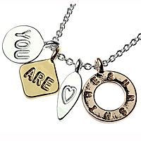 4 Disc Necklace, Silver, Rose, Gold - You, Are, Love Heart, Sunshine - Costume Jewellery