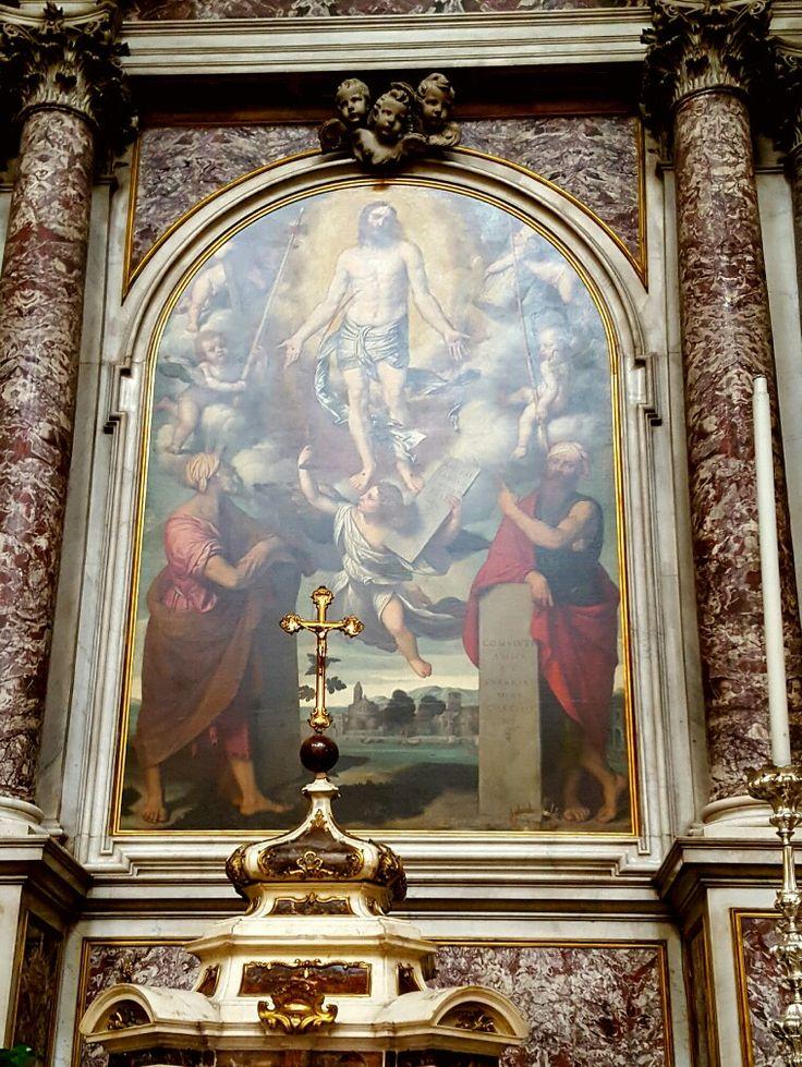 Chiesa di San Nazaro e Celso  Cristo con i simboli della passione tra Mosè ed Elia Moretto