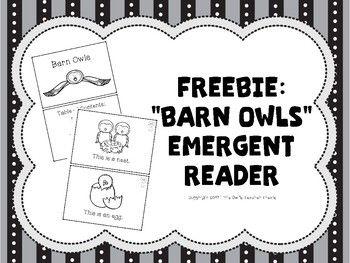 "Freebie: ""Barn Owls"" Emergent Reader Download for free from Little Owl's Teacher Treats!"