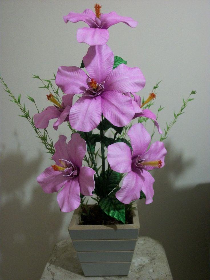 arranjo de flor em EVA - Hibisco...espero que gostem