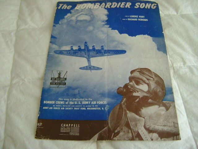 "15$  ""The Bombardier Song"" 1942 Patriotic, Lorenz Hart, Richard Rodgers  Estate Sale 1$ Home of WW2 Bomber Pilot"