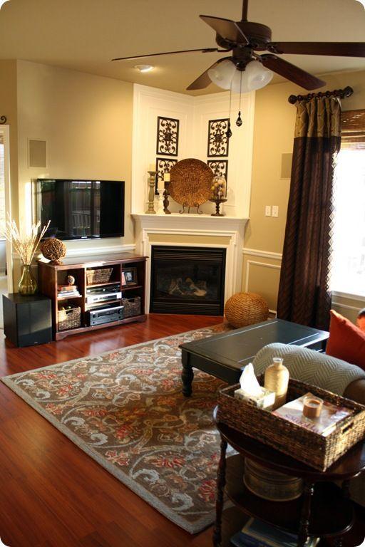 Best 25 corner fireplace decorating ideas on pinterest - Corner fireplace living room ideas ...