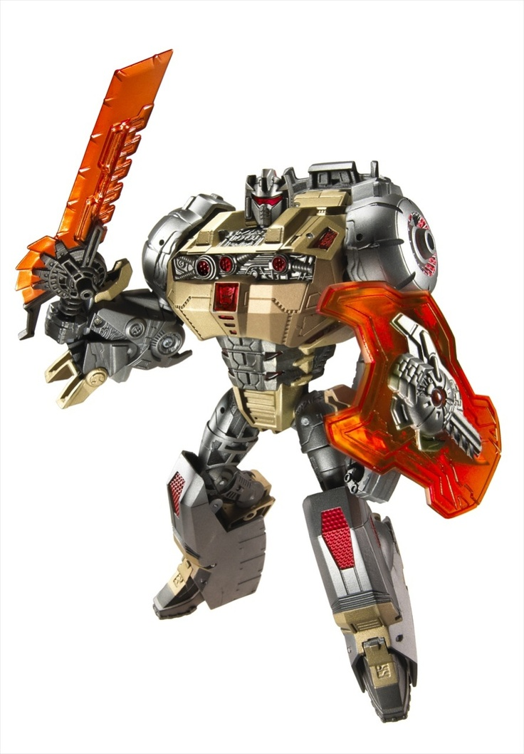 Fall of Cybertron Grimlock - Robot Mode (Man, I love this guy! :) he's pretty darn posable and beautifully detailed, though he could use some paint to bring it out a little. And the light up head/chest? Seriously epic. So worth $22.)