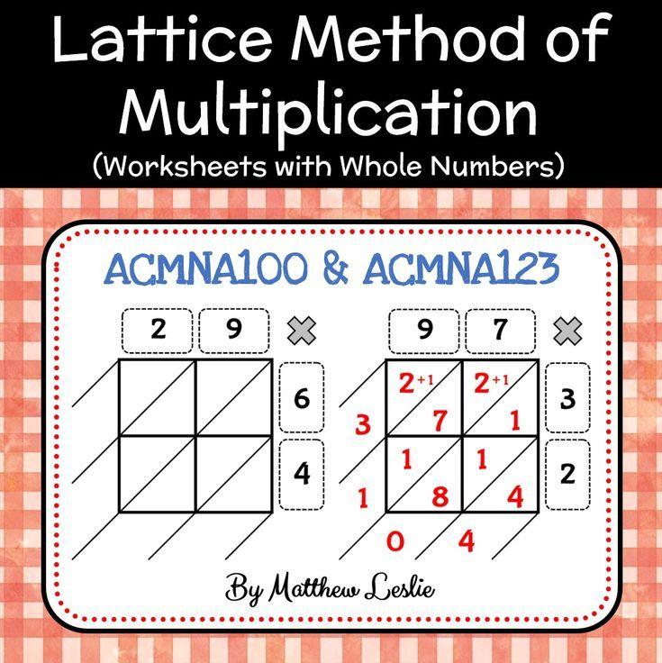 Lattice Method Of Multiplication Worksheets With Whole Numbers Lattice Method Lattice Method Of Multiplication Lattice