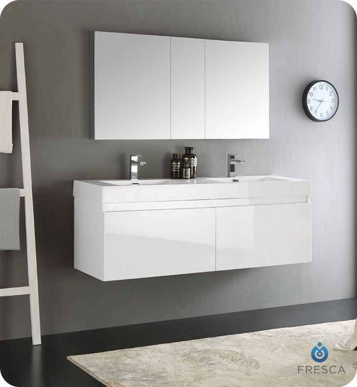 Web Image Gallery Fresca Mezzo White Wall Hung Double Sink Modern Bathroom Vanity with Medicine Cabinet