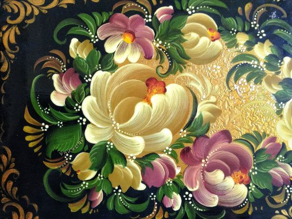 Ukrainian or Russian Rosemaling Hand-painted bread board by PROPZ
