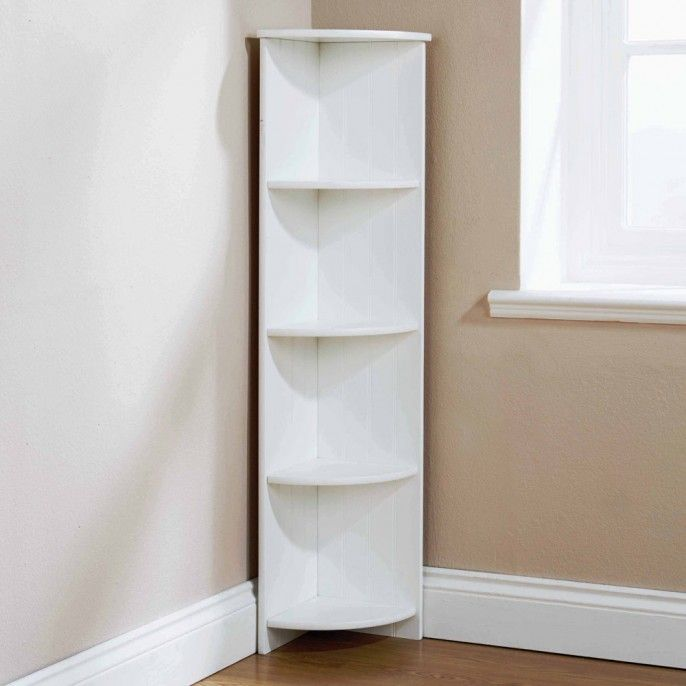 ADONIS 4 TIER WHITE CORNER FLOOR CABINET - Bathroom - Home & Furniture | Poundstretcher