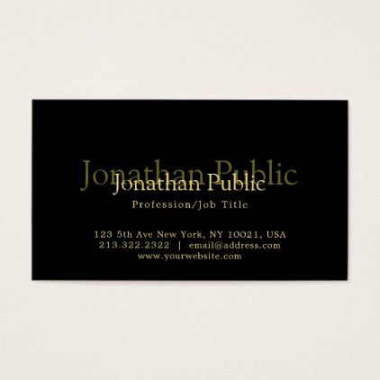 Modern Elegant Black & Gold Artistic Plain Trendy Business Card - trendy gifts cool gift ideas customize