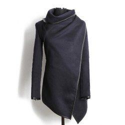 Fashionable Turtleneck Long Sleeve Asymmetric Coat For WomenCoats | RoseGal.com