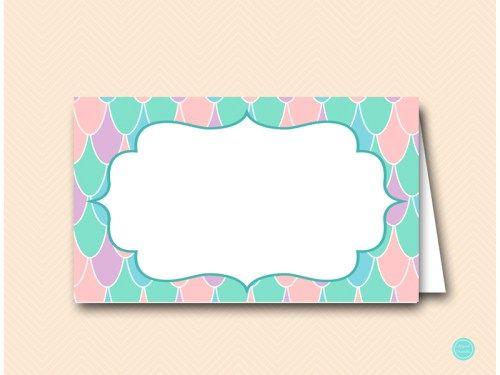 SN531 Labels-2-per-page-pink-purple-aqua-mermaid-baby-shower-food-labels