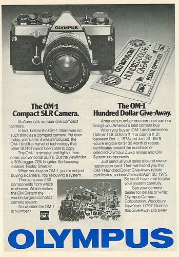 {Olympus OM-1} 1978 ad; I just thrifted this fab camera!