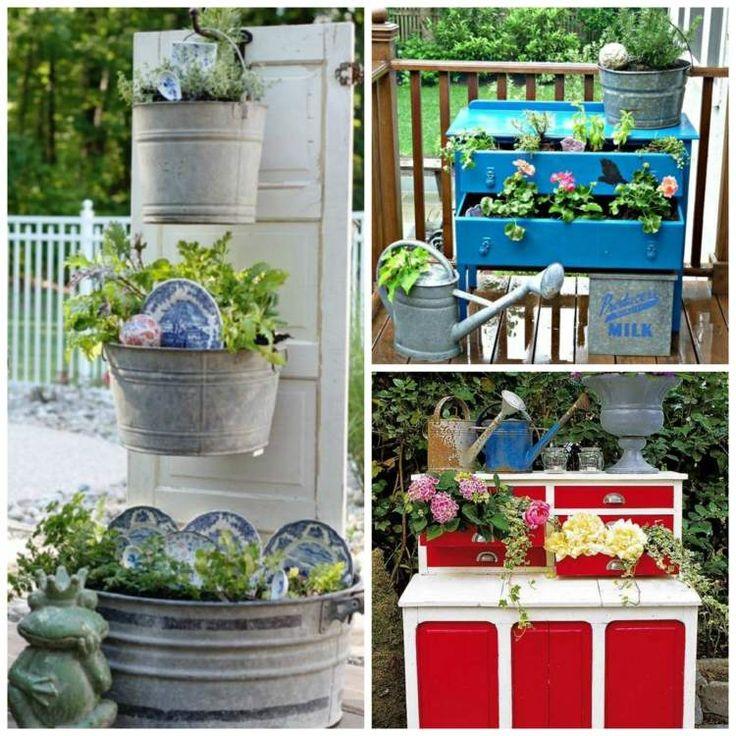 décorer le jardin de commodes et seaux réutilisés remplis de fleurs