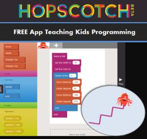 Hopscotch App - free app teaching elementary kids computer programming. This would be awesome for Giana!