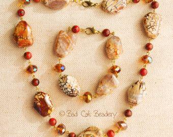 Sieraden Set bruin crème ivoor gouden bronzen Warm oranje rode Crackle Agaat rood Jasper ketting oorbellen armband