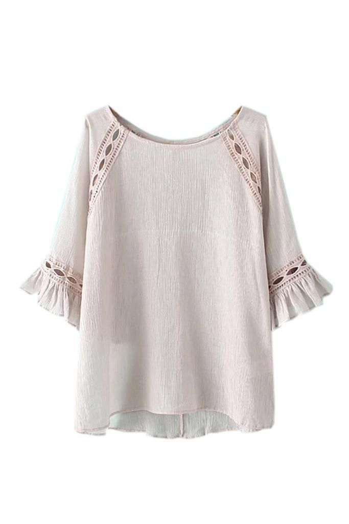 Goodnight Macaroon  'Victoria' Crinkled Short Sleeved Blouse