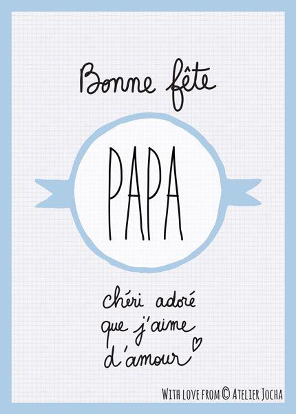 Carte postale Bonne fête Papa chéri adoré que j'aime d'amour.  Blue.  http://atelierjocha.fr/boutique/bonne-fete-papa-blue/