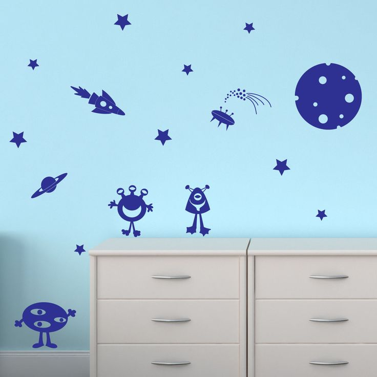 carton Alien Stars Planet Space Rocket Wall Sticker Wall Decal Transfer Kids Decoration os1532 free shipping