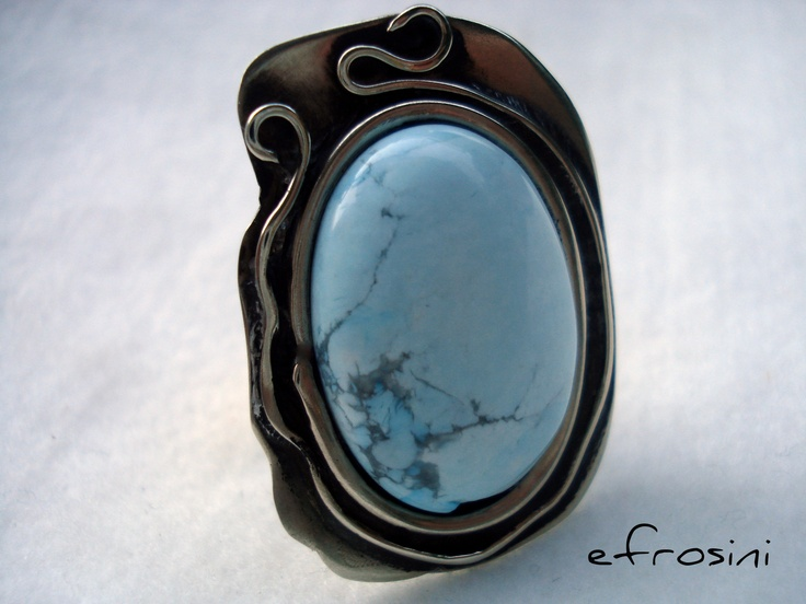 silver ring , howlite