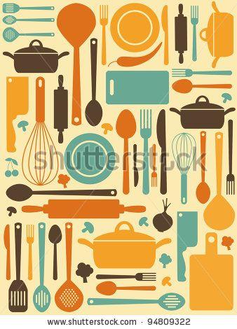Stock Vector Cute Kitchen Pattern Vector Illustration