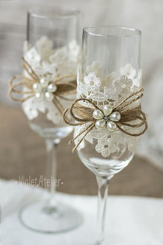 Lace toasting glasses, lace toasting flutes, flower champagne flutes