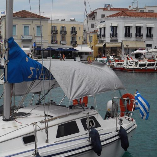Beautiful Spetses - Alexandris Hotel is the middle yellow building :)