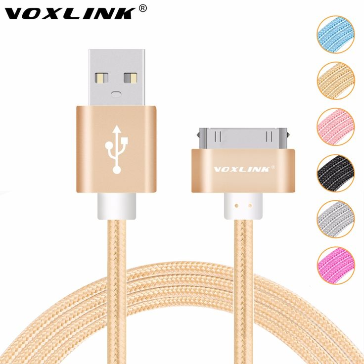 VOXLINK Colorful 1M/2M/3M Nylon Braided Line 30 pin Metal plug Sync Data USB Cable For iphone 4 4S 3GS iPad 1 2 3 -- Continue to the product at the image link.
