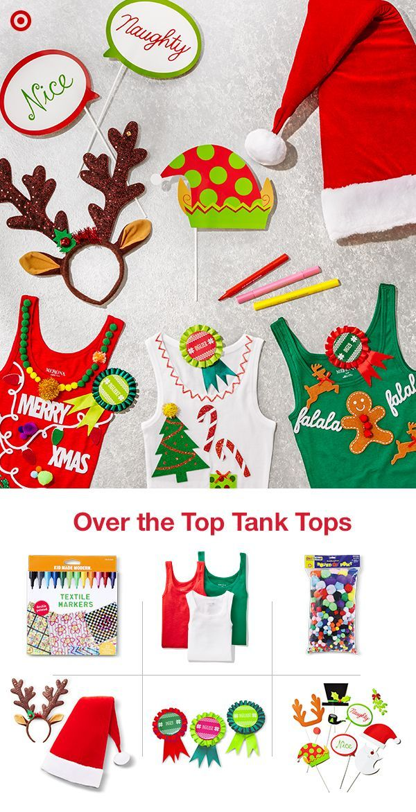 Sometimes, a holiday sweater just seems too… sweaty. Why miss out on the fun of an Ugly Sweater Party just because you're enjoying a holiday filled with beautiful weather? Bust out a beach-ready gift experience with custom holiday tank tops: tanks, fabric markers, accessories and, or course, fun and funky holiday flair.