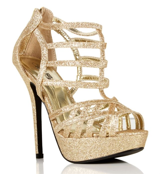 gold glitsy strappy heels prom. Black Bedroom Furniture Sets. Home Design Ideas