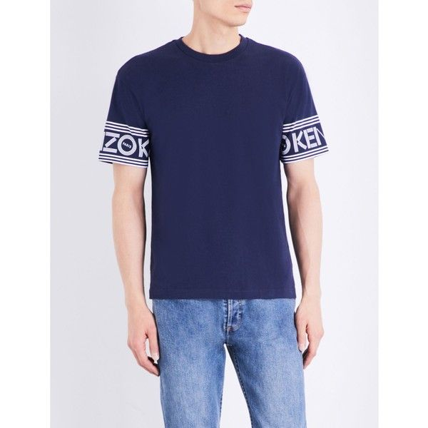 KENZO Logo-print cotton-jersey T-shirt ($140) ❤ liked on Polyvore featuring men's fashion, men's clothing, men's shirts, men's t-shirts, mens leopard print t shirt, mens french cuff shirts, mens short sleeve shirts, mens short sleeve t shirts and mens patterned t shirts