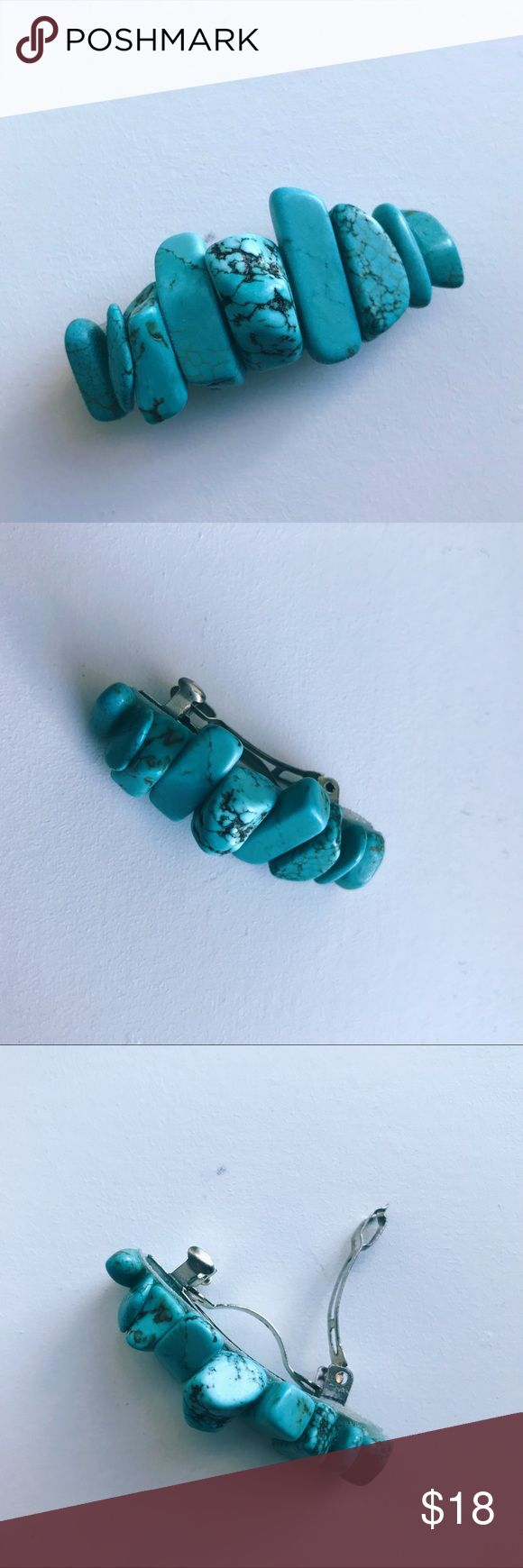 """➕Turquoise Stone Hair Barrette certified authentic gemstone barrettes in shop! French style enclosure. 2"""" inches in length, 1"""" inch closure. Listing is for one barrette. These are handmade, to help pay for my ongoing medical treatment.  tags: boho wedding beach mermaid cosplay gypsy unif urban outfitters anthropologie zara asos crystal healing hippie hippy burning man native navajo aztec witch festival rave LF western hair accessory Jewelry #hippiejewelry #crystalhealing"""