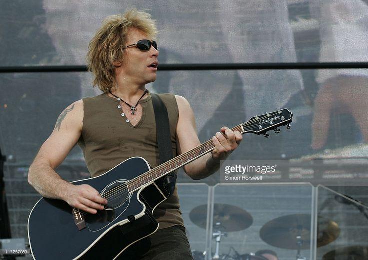 Jon Bon Jovi during Bon Jovi - Have A Nice Day Tour at Milton Keynes Bowl in Great Britain - June 10, 2006 at Milton Keynes Bowl in Milton Keynes, Great Britain.
