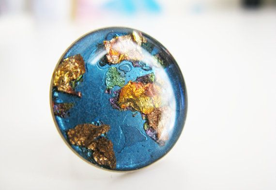 Planet Earth Ring Earth Adjustable Ring Handmade by petiteutile
