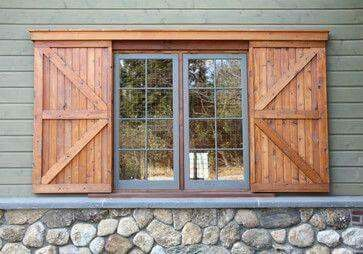 window shutters look like barn doors                                                                                                                                                      More