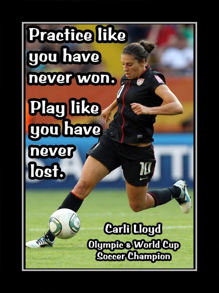 "Soccer Motivation Carli Lloyd USWNT Photo Quote Poster Wall Art Print 5x7""-11x14"" Practice Like U Never Won-Play Like U Never Lost-Free Ship by ArleyArt on Etsy"