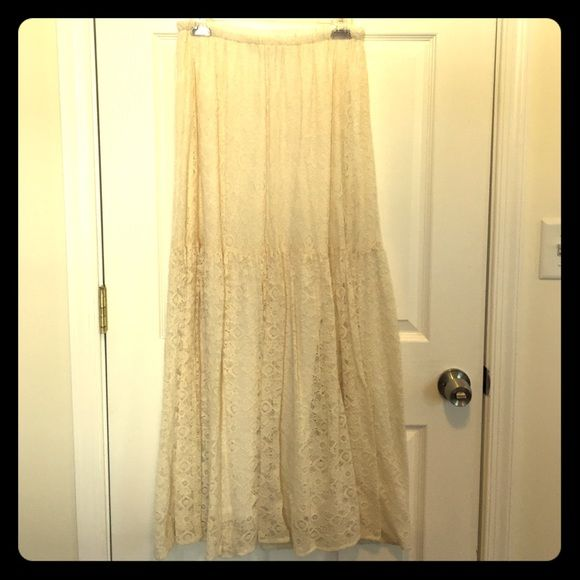 Cream lace skirt, final price, donating soon Beautiful cream lace skirt. So cute with boots or sandals Anthropologie Skirts Maxi